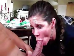 Milf quick blowjob handjob cum swallow