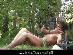 BDSM, Blowjob, Bondage, Brunette, Outdoor