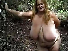 BBW, Big Boobs, Granny, Mature, Outdoor