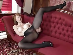 Big Boobs, British, Masturbation, Redhead, Stockings