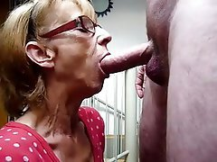 Blonde, Blowjob, Facial, Granny