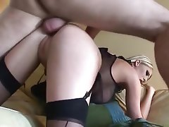 Blonde, Blowjob, British, Cumshot, Stockings