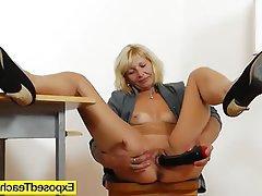 Blonde, Masturbation, MILF, Stockings