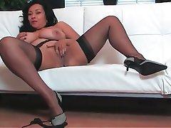 Brunette, Lingerie, Masturbation