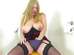 Mature, MILF, British, Bathroom, Mature
