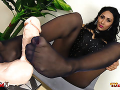 Stockings, Foot Fetish, Dildo, Footjob, High Heels