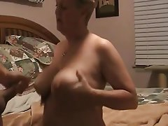 Big Boobs, Blonde, Cumshot, Granny, Handjob
