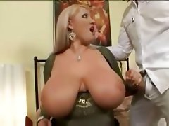 BBW, Big Boobs, Blonde, Stockings