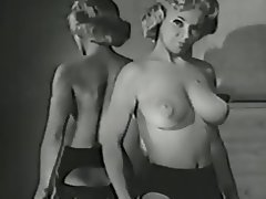 Big Boobs, Blonde, Lingerie, Stockings, Vintage