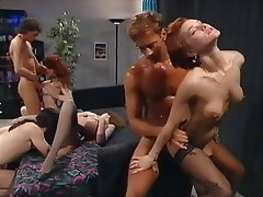 Anal, Group Sex, Hairy, Redhead, Stockings