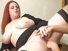 Big Boobs, Lesbian, Old and Young, Redhead, Strapon