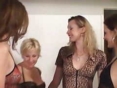 Lesbian, Blonde, Brunette, Group Sex, Latex