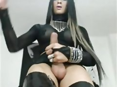 Cumshot, Handjob, Latex, Masturbation, Stockings