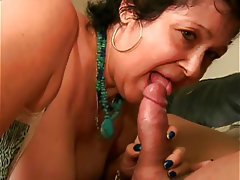Blowjob, Facial, Brunette, Granny