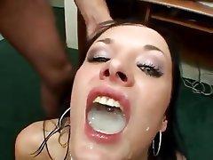 Brunette, Bukkake, Cumshot, Facial, Masturbation