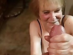 Big Boobs, Facial, Granny, Handjob, Stockings