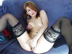 Masturbation, Pantyhose, Redhead, Stockings, Webcam