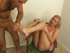 Blowjob, Blonde, Foot Fetish, Masturbation