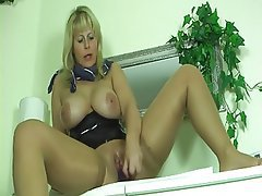 Big Boobs, Blonde, Masturbation, MILF, Pantyhose