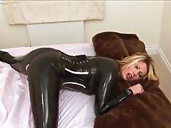 Blonde, Latex, Masturbation, MILF, Orgasm