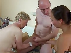 Granny, Masturbation, Mature, Old and Young, Threesome
